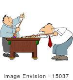 #15037 Two Men Playing A Game Of Pool Clipart
