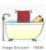 #15039 Middle Aged Caucasian Man Taking a Bubble Bath Clipart by DJArt