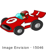 #15046 Caucasian Race Car Driver Man Clipart