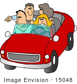 #15048 Two Caucasian Couples Riding In A Convertible Car Clipart