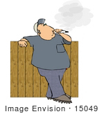 #15049 Man Smoking A Cigarette While Leaning Against A Fence Clipart
