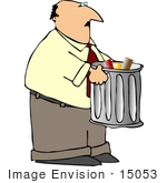 #15053 Man Taking Out a Silver Trash Can Clipart by DJArt