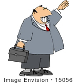 #15056 Business Man With A Briefcase Waving A Hand Clipart