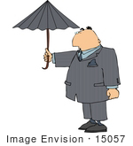 #15057 Caucasian Business Man Holding An Umbrella Clipart