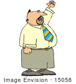 #15058 Caucasian Business Man Waving And Yelling Clipart