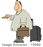#15060 Traveler With Luggage Unlocking A Hotel Door Clipart