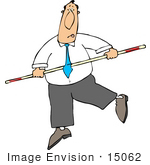 #15062 Struggling Business Man Holding Onto A Balance Bar On A Tightrope Clipart