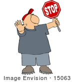 #15063 Caucasian Man Holding a Stop Sign Clipart by DJArt