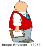 #15065 Middle Aged Caucasian Man Holding A Clipboard Clipart