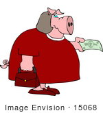 #15068 Pig Woman Paying With Cash Clipart