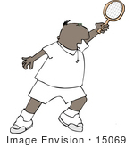 #15069 African American Man Playing Tennis Clipart