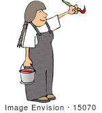 #15070 Girl Painting With Red Paint Clipart