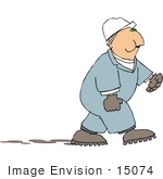 #15074 Worker In Coveralls And A Hardhat Chewing Tobacco Clipart