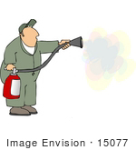 #15077 Man Using A Fire Extinguisher Clipart