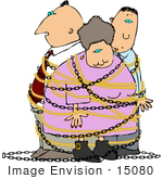 #15080 Family Tied Up In Chains Clipart