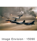 #15090 Picture Of Military Aircraft Over Oil Fires Kuwaiti Operation Desert Storm Gulf War