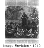 #1512 Picture Of John Eliot Preaching To The Indians