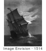 #1514 Stock Photo of the Ship, Mayflower Approaching Land by JVPD
