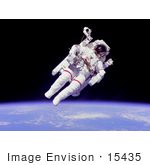 #15435 Picture Of Bruce Mccandless Ii Suited With A Mmu In Outer Space