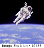 #15436 Picture Of Bruce Mccandless Ii In Space Equipped With A Manned Maneuvering Unit