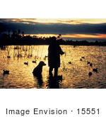 #15551 Picture of a Hunter and His Dog Wading in a Marsh, Duck Hunting by JVPD