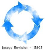 #15803 Four Arrows Moving Clockwise In A Circle With A Blue Sky Pattern Clipart