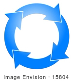 #15804 Blue Circle With Four Arrows Moving Clockwise Clipart