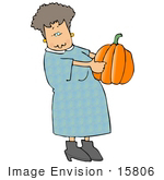 #15806 Middle Aged Caucasian Woman Carrying A Hallween Or Thanksgiving Pumpkin Clipart