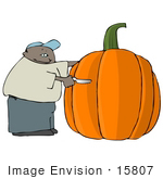 #15807 African American Man Carving A Giant Pumpkin Clipart
