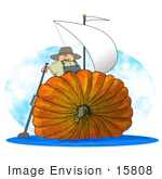 #15808 Thanksgiving Pumpkin Boat With Sails Clipart