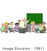 #15811 Elementary School Teacher Man Teaching His Students In A Classroom Clipart