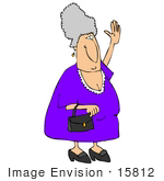 #15812 Elderly Caucasian Woman Carrying A Purse And Waving Clipart