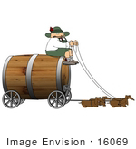 #16069 Dachshund Dogs Pulling A Coachman And Wooden Barrel Keg Wagon For Oktoberfest Clipart
