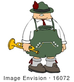 #16072 Oktoberfest Man Carrying a Trumpet Clipart by DJArt