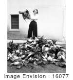 #16077 Picture of a Woman Near a Pile of Dead Game Birds by JVPD