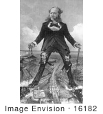 #16182 Picture of a Caricature of William Henry Vanderbilt and Trains by JVPD