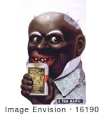 #16190 Picture Of An African American Caricature Man Holding A Tobacco Pack