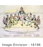 #16196 Picture Of Uncle Sam And 8 Men Dancing