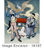 #16197 Picture Of Uncle Sam And A Chinese Man With A Firecracker Dragon And Eagle