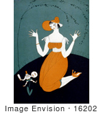 #16202 Picture Of A Kneeling Woman And Miniature Man Growing From A Plant