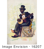 #16207 Picture Of An African American Man Playing A Banjo