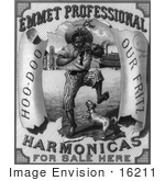 #16211 Picture Of An African American Man Playing A Harmonica And A Dog On An Emmet Professional Harmonicas Advertisement