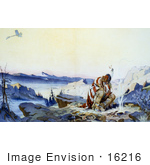 #16216 Picture Of A Native American Man In The Cold By A Fire Watching A Plane Fly Above