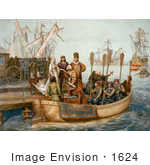 #1624 Illustration Of The First Voyage Of Christopher Columbus