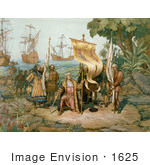 #1625 Illustration Of Columbus Taking Possession Of The New Country