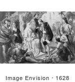 #1628 Columbus Being Greeted By King Ferdinand And Queen Isabella