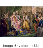 #1631 Illustration Of Christopher Columbus Kneeling In Front Of Queen Isabella I And King Ferdinand V