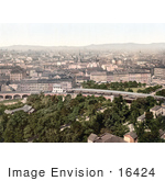 #16424 Stock Photo Of A Cityscape Of Vienna Austria As Seen From Riesinrad In Austro-Hungary