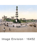 #16452 Stock Photo Of People And Carriages Near The Admiral Tegetthof Statue In The Roundabout Street Near The Wien Nord-Praterstern Train Station In Vienna Austria Austro-Hungary
