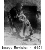 #16454 Picture of a Grandma Woman and Baby in a Rocking Chair by JVPD